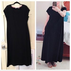 ISAAC MIZRAHI black maxi tee dress LBD short slv